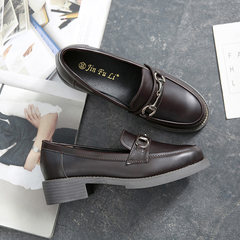 Lucky shoes, female tassels, 2017 new style medium heel women shoes, Oxford single shoes round head, British college wind leather shoes girl Thirty-eight Wine red buckle