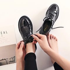 British style shoes soled shoes retro autumn Bullock style lace round cake Oxford school shoes Thirty-four black