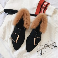 2017 Korean winter new shoes leisure all-match with the students pointed coarse spring autumn girl Maomao shoes shoes Thirty-eight black