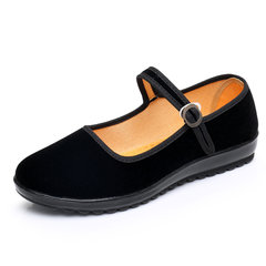 Old Beijing shoes shoes with flat slope work with hotel work etiquette dance muffin word black shoes Thirty-eight black