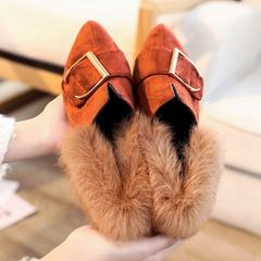 The 2017 winter Maomao shoes with flat shoes and women shoe Doug hair rabbit hair tip shoes slip-on warm shoes Thirty-eight Light brown