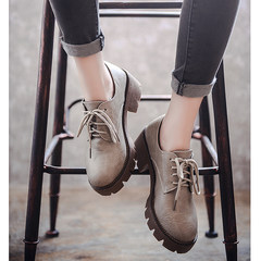 2017 autumn and winter new style British Wind women's college students, single shoes plus cashmere, heel with soft sister, small leather shoes female Thirty-six Dark grey