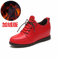2017 summer and winter leisure shoes increase, flat bottom slip slip, suede cotton, single shoe, female work shoes, small leather shoes Thirty-six Red velvet