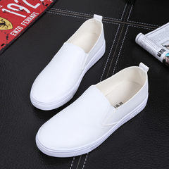In the spring of 2017 black and white set foot loafer Korean tide pedal shoes leather shoes a lazy Thirty-eight 1662 white