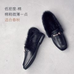 Maomao shoes Girls Winter 2017 new Korean all-match plus velvet flat shoes female British shoes shoes Doug rabbit Forty black