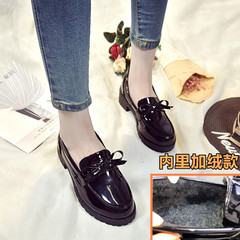 British style shoes 2017 new winter leisure shoes all-match a documentary rough sets foot students plus velvet shoes Thirty-seven Cashmere Black