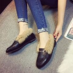 The 2016 winter Maomao shoes women shoe flat shoes plus cashmere wool Beanie square small leather shoes slip-on warm shoes Thirty-seven The shoes are a little smaller than usual