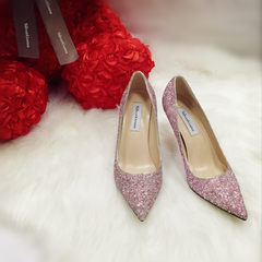 Star with the same paragraph of silver pointed high-heeled shoes, fine with gradual change sequins, documentary shoes, crystal bridesmaid, bride wedding shoes girl Thirty-three New pink 5cm