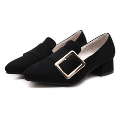British style shoes fall 2017 new tip with thick with Korean plus velvet shoes in winter all-match high-heeled shoes Thirty-eight Black velvet