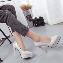 Super high-heeled 12cm women shoes, new spring waterproof table in Europe and America, fine heel women shoes, single shoes, red wedding shoes Thirty-seven Gray 12 cm
