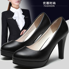 Daily specials, work shoes, women's career, OL high heels, black heel, formal etiquette interview, round head anti slip single shoes Forty Matt white, 7 cm heel