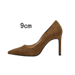 In the autumn of 2017 new female high-heeled shoes with a fine pointed shoes Asakuchi all-match black suede shoes ol occupation Thirty-seven Camel (9 cm)