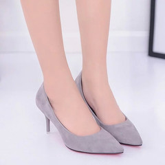 In the autumn of 2017 new Korean red high heels sexy black suede with fine pointed shoes all-match girl Thirty-six gray
