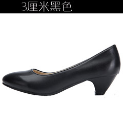 Spring and autumn single shoes, black shoes, comfortable shoes, soft soles, pointed heels, big shoes Thirty-eight Gun black