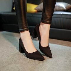 In the autumn of 2017 new Korean lady pointed Sexy Heels with thick black with all-match shoes shoes Thirty-eight black