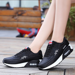 2017 new winter sports shoes for low surface air cushion shoes black thick soled shoes and swing platform shoes Thirty-eight The bottom 9591 black leather cushion