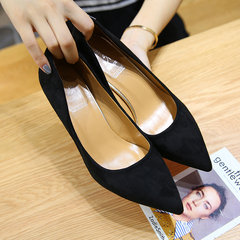 The new suede shoes in summer and autumn. Pointed stilettos with shallow mouth all-match cat heel shoes Thirty-eight black