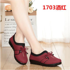 17 spring and autumn women's shoes, old Beijing cloth shoes, single shoes, middle-aged women shoes, mother shoes, grandma soft soles, anti slip shoes for old people Thirty-eight 1703 wine red