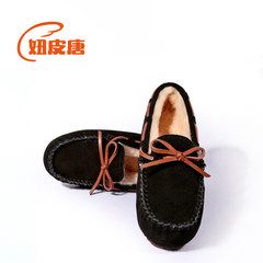 Doug winter wool shoes plus cotton shoes and leather flat loafer warm pregnant mother shoes shoes Society Thirty-eight Black velvet