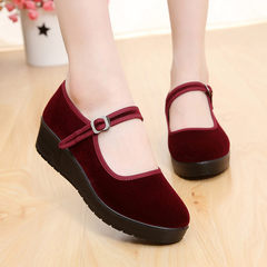 Thick soles muffin old Beijing shoes female slope with high heel slip dance shoes shoes black shoes single mother Hotel Thirty-eight Wine red 006