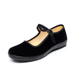 Old Beijing cloth shoes woman new style summer flat bottom black medium and old age soft bottom hotel work shoes flat heel skid proof mother shoes Thirty-eight black