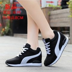 Women's shoes, 8-10CM shoes, female students, running shoes, net face, leisure travel and single shoes in autumn and winter Korean version Forty 398 pair of black spring [model]