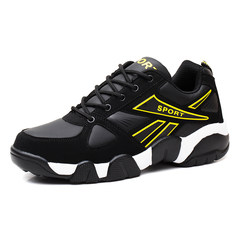 2017 early autumn new leisure sports shoes running shoes shoes waterproof leather shoes leisure shoes flames Thirty-eight 1836 black yellow
