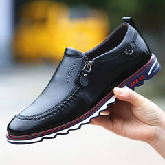 2017 early autumn new youth fall soft bottom soft all-match leather business men's casual shoes men Korean tide Thirty-eight Atmospheric Black