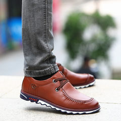 2017 early autumn new youth fall soft bottom soft all-match leather business men's casual shoes men Korean tide Thirty-eight Classic Brown