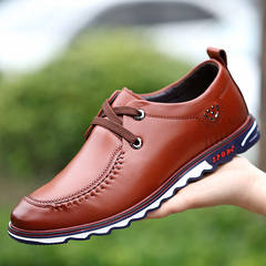 2017 early autumn new youth fall soft bottom soft all-match leather business men's casual shoes men Korean tide Thirty-eight brown
