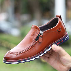 2017 early autumn new youth fall soft bottom soft all-match leather business men's casual shoes men Korean tide Thirty-eight Luxury Brown