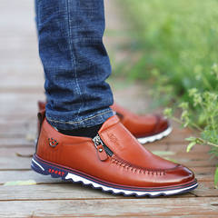 2017 early autumn new youth fall soft bottom soft all-match leather business men's casual shoes men Korean tide Thirty-eight Tianya Brown