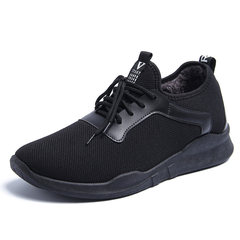 Early autumn new shoes in winter and warm male cashmere slip-on Korean male youth movement low shoes shoes Forty-three black