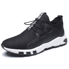 Yi'erkang men's new flagship store early autumn trend of Korean Leisure Sports Youth lace up shoes lightweight running shoes Thirty-eight black
