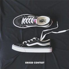 Autumn Korean men's casual canvas shoes, skateboard shoes low winter sport shoes all-match trend Thirty-eight Black velvet