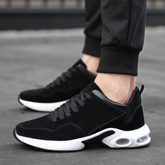 The fall male shoes 2017 new shoes all-match Korean sports shoes men's running shoes breathable casual canvas shoes Thirty-eight 8022 black and white