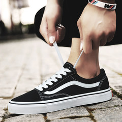 Autumn shoes 2017 new canvas shoes men's casual shoes breathable shoes all-match Korean fashion cloth shoes Thirty-eight W-01 black