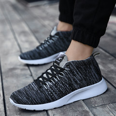 Men's shoes sports shoes light summer shoes breathable mesh autumn running shoes trend Thirty-eight 1671 black ash