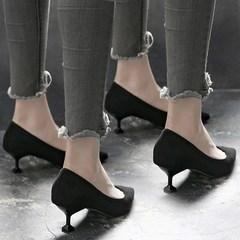 Girl heels, girl heel, summer 2017, new cat heel shoes, pointed heels, single shoes, women 3cm low heel shoes tide Thirty-eight Pink 6cm