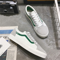Street beat ins canvas shoes a couple of white shoes shoes Korean male students in Hong Kong all-match Harajuku skateboard shoes tide wind 39 men's money White and green