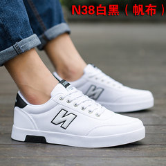 In the autumn of 2017 new canvas shoes shoes white shoes trend of Korean men's casual shoes white shoes shoes 42 [collection and purchase of socks] N38 white black (canvas)