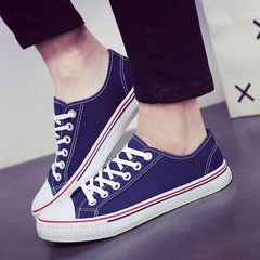 Pure low canvas shoes to help Korean students Metrosexual flat line ball boys all-match shoes breathable shoes 38 yards Deep blue upgrade