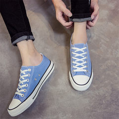 The fall of pure black and white canvas shoes to help low male leisure shoes all-match flat Strappy shoes. A couple of students 43 yards Wathet