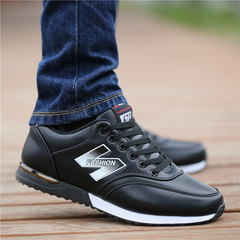 Autumn and winter fashion men's shoes men's canvas shoes leather shoes waterproof breathable British old Beijing shoes casual shoes Forty-four Black King Kong