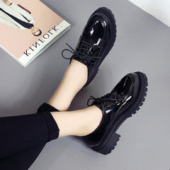 British style shoes leather shoes to help students fall low with thick bottom all-match retro lace round small leather shoes Thirty-eight Black (Burne Neri)