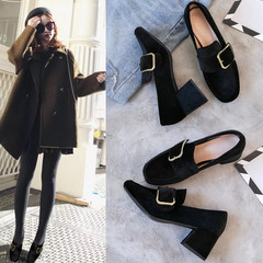 2017 autumn new style British Wind shoes, rough shoes, women's head with retro square buckle, small leather shoes, high-heeled shoes Thirty-eight black