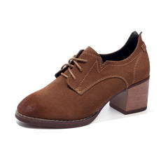 In autumn 2017 New England all-match shoes shoes shoes retro Korean documentary rough heels female students Thirty-eight Caramel color