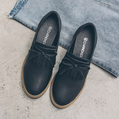 Autumn bows, tassels, tassels, shoes, women's colleges, women's shoes in the wind, British Retro Leather shoes, round heads Thirty-eight black