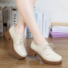 2017 autumn winter new style British wind, thick leather with thick bottom, with round head and suede single shoes, students professional shoes Thirty-eight Beige