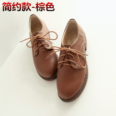 2017 Autumn New Retro British lace round round small leather shoes, documentary shoes coarse heel Oxford shoes big size women's shoes Thirty-eight 888-1- Brown